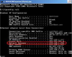 192.168.l.254 ip default gateway